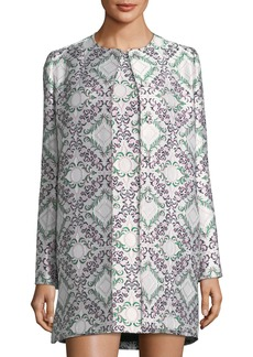 Zac Posen Snap-Front Jacquard Metallic Long Jacket
