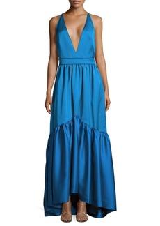 Zac Posen Solid Ruffled Woven Gown