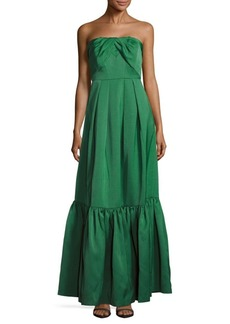 Zac Posen Pleated Strapless Flounce Gown