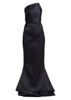 Zac Posen Strapless Embellished Duchess Satin Gown
