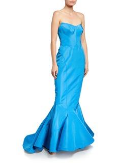 Zac Posen Strapless Silk Faille Mermaid Gown