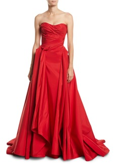 Zac Posen Strapless Sweetheart-Neck Draped Evening Gown w/ Train