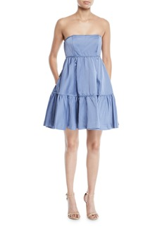 Zac Posen Strapless Tiered Tea-Length Dress