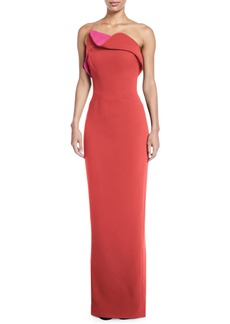 Zac Posen Strapless Two-Tone Fold-Over Column Gown
