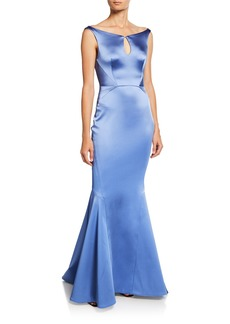 Zac Posen Stretch Satin Keyhole Trumpet Gown