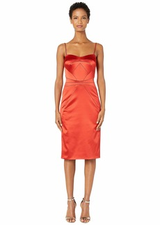 Zac Posen Stretch Satin Spaghetti Strap Fitted Cocktail Dress