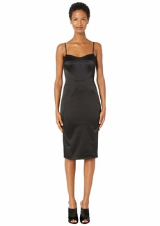 Zac Posen Stretch Satin Spaghetti Strap Fitted Cocktail Dress