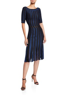 Zac Posen Striped Bateau-Neck Cocktail Dress