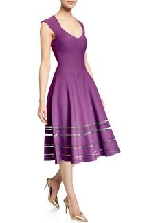 Zac Posen Sweetheart-Neck Circular Knit Dress