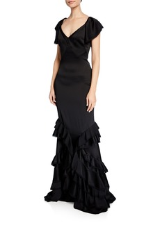 Zac Posen Tiered Ruffle-Bottom Gown