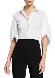 Zac Posen Tulip-Sleeve Cotton Blouse