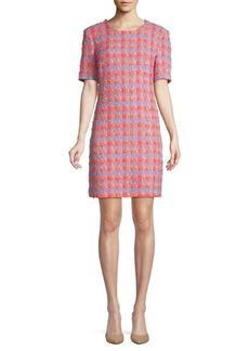 Zac Posen Tweed Short-Sleeve Shift Dress