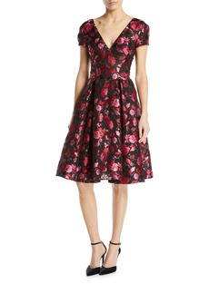 Zac Posen V-Neck Cap-Sleeve Fit-and-Flare Floral-Jacquard Cocktail Dress