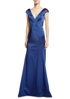 Zac Posen V-Neck Cap-Sleeve Mermaid Gown