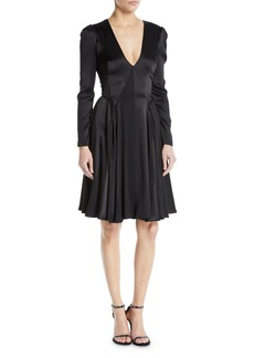 Zac Posen V-Neck Long-Sleeve Fit-and-Flare Satin Crepe Stripe Cocktail Dress