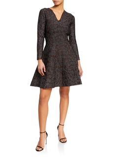 Zac Posen V-neck Long Sleeve Mini Dress