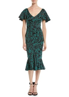 Zac Posen V-Neck Ruffled-Sleeve Floral-Print Cocktail Dress w/ Flared Hem