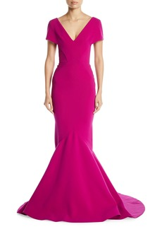 Zac Posen V-Neck Short-Sleeve Mermaid Evening Gown w/ Train