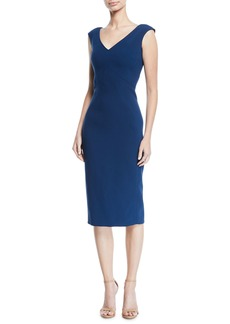 Zac Posen V-Neck Sleeveless Stretch-Cady Sheath Dress
