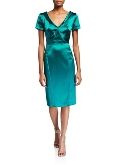 Zac Posen Wide V-Neck Satin Dress