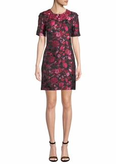 Zac Posen 1/2-Sleeve Floral-Embroidered Jeweled-Neck Dress