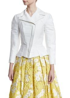 Zac Posen 3/4-Sleeve Stretch-Cotton Moto Jacket