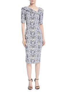 Zac Posen Asymmetric-Neck Damask Stretch-Jacquard Sheath Cocktail Dress