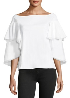 Zac Posen Bateau-Neck Tiered Cape Bell-Sleeve Cotton Blouse
