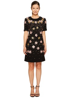 Zac Posen Bonded Crepe Handmade Floral Embroidery Short Sleeve Dress