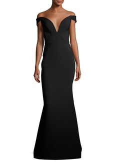 Zac Posen Bonded Crepe Plunging Evening Gown