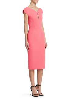Zac Posen Bonded Crepe Sheath Cocktail Dress