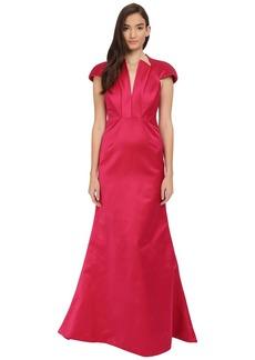 Zac Posen Bonded Crepe V-Neck Sleeveless Gown