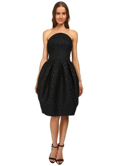 Zac Posen Bustier Dress with Rounded Box Pleat Skirt