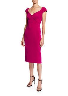 Zac Posen Cap-Sleeve Brocade Cocktail Dress
