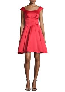 Zac Posen Cap-Sleeve Satin Fit & Flare Dress