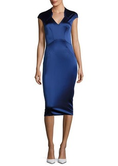 Zac Posen Cap-Sleeve Satin Sheath Dress