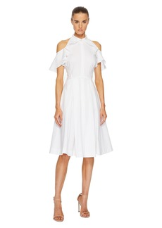 Zac Posen Cotton Poplin Cold Shoulder Dress