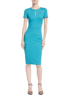 Zac Posen Cutout-Neckline Cap-Sleeve Jersey Cocktail Dress