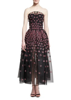 Zac Posen Daisy-Embroidered Strapless Tea-Length Gown