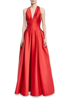 Zac Posen Deep V-Neck Full-Skirt Gown