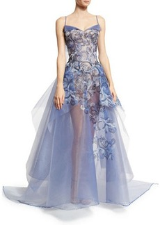 Zac Posen Embroidered Guipure Sleeveless Ball Gown