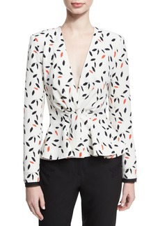 Zac Posen Feather-Print Peplum Top