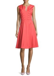 Zac Posen Fern-Embroidered Virgin Wool Fit & Flare Dress