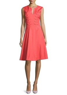Zac Posen Fern-Embroidered Virgin Wool Fit & Flare Dress