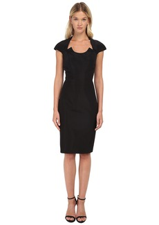 Zac Posen Fitted Dress with U-Neckline Cutout and Cap Sleeves