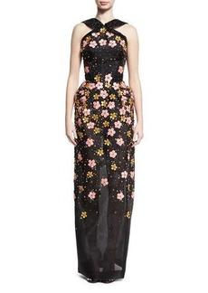 Zac Posen Floral-Embroidered Halter Gown