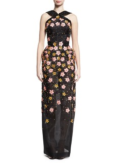 Zac Posen Floral-Embroidered Halter Gown