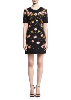 Zac Posen Floral-Embroidered Short-Sleeve Shift Dress