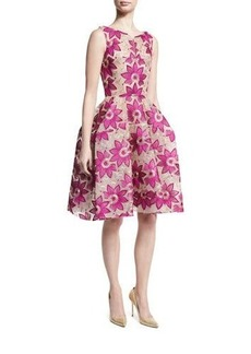 Zac Posen Floral-Embroidered Sleeveless Fit-and-Flare Dress