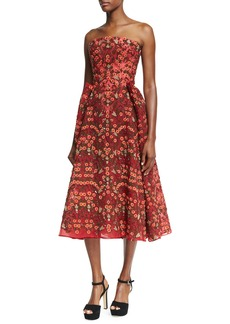 Zac Posen Floral-Embroidered Strapless Cocktail Midi Dress